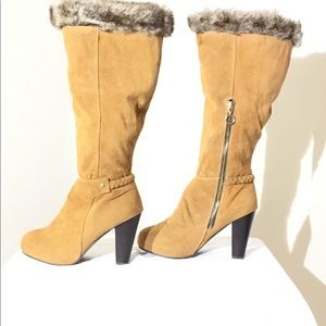 Beautiful, Faux Suede, Tall Boots, With Faux Fur